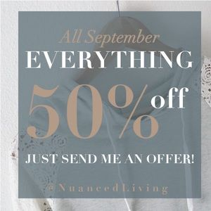 50% off sale!! 50% off everything!!!